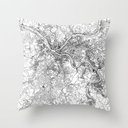 Pittsburgh White Map Throw Pillow