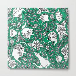 Tea Time Green Metal Print