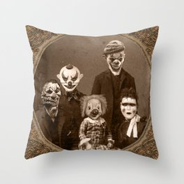 Creepy Clown Family Halloween Throw Pillow