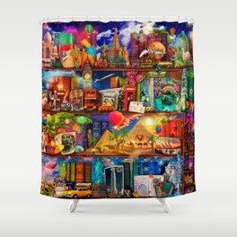 World Traveler Book Shelf Shower Curtain