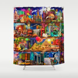 World Traveler Book Shelf Shower Curtain