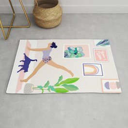 Girl Power Yoga pose Rug
