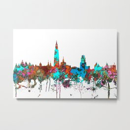 Antwerp, Germany Skyline - Confetti Metal Print
