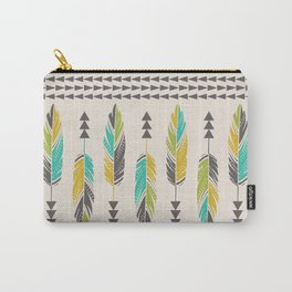Painted Feathers-Cream Carry-All Pouch