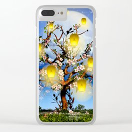 Cherry tree blossom garden with yellow lanterns and moonlight Clear iPhone Case