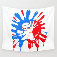 moriarty Wall Tapestries featuring Paintball Splatter Red & Blue with Mascot by Michael Moriarty Photography