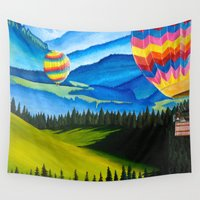 hot air balloons Wall Tapestries featuring Acrylic Hot Air Balloons by Megan White