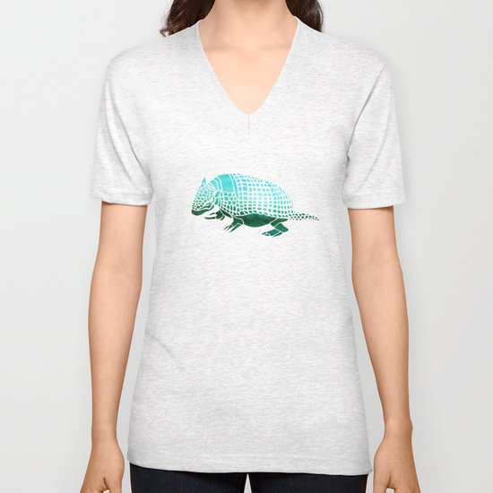 Watercolor Armadillo Unisex V-Neck