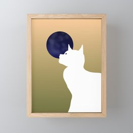 Moon and white cat Framed Mini Art Print
