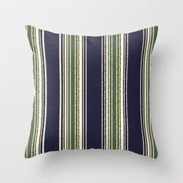 Navy blue and sage green stripes Deko-Kissen