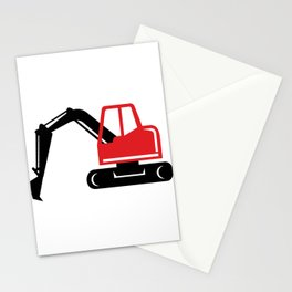 Mechanical Excavator Digger Retro Icon Stationery Cards