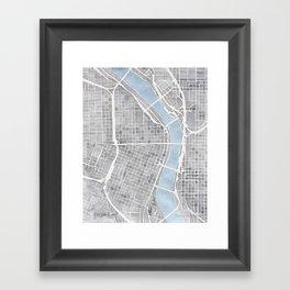 Portland Oregon watercolor city map art Framed Art Print