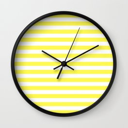 Stripes White And Yellow Wall Clock