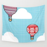 hot air balloons Wall Tapestries featuring Cozy Hot Air Balloons by The Wellington Boot