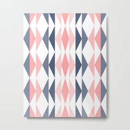 Triangle Pattern in Blush and Slate Metal Print