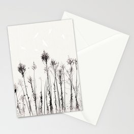 Dried Tall Plants and Flying White Birds Stationery Cards