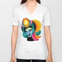 goddess V-neck T-shirts featuring Goddess by Alvaro Tapia Hidalgo