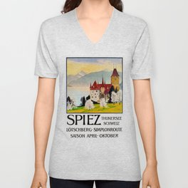 Spiez Switzerland - Vintage Travel Poster Unisex V-Neck