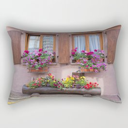 Two Windows and Colorful Flowers Rectangular Pillow
