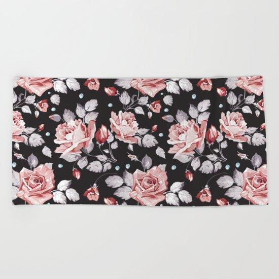 Vintage Pink Rose Flowers Beach Towel