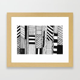 Mono Geo Lines Framed Art Print