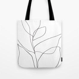 Minimalist Line Art Plant Drawing Tote Bag