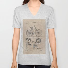 patent Bicycle 1890 Rice Unisex V-Neck