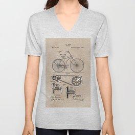 patent Bicycle 1890 Rice Unisex V-Neck