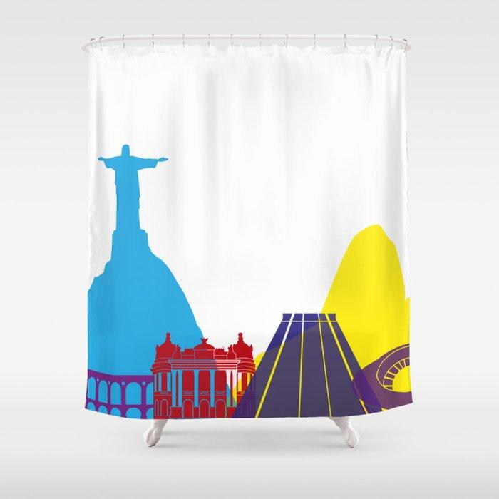 Rio de Janeiro skyline pop Shower Curtain