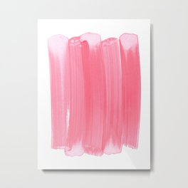 Coral Pink Minimalist Abstract Brushstrokes Metal Print