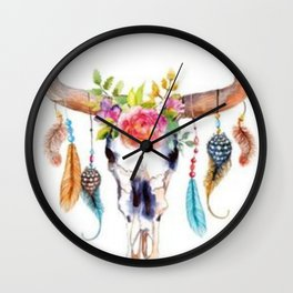 Floral and Feathers Adorned Bull Skull Wall Clock