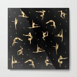 Black and Gold Gymnastics Metal Print