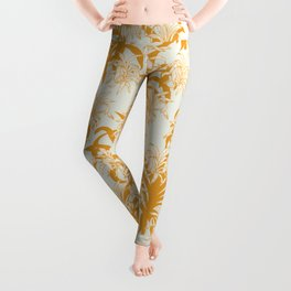Tropical Palms in Golden Yellow and Mustard Leggings