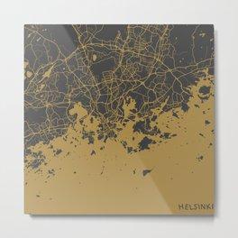 Helsinki Map Metal Print