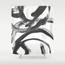 Interlock black and white paint swirls Shower Curtain