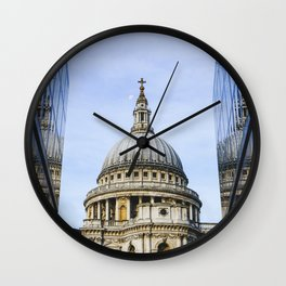 Saint Paul Cathedral reflected in glass walls in London City, England. Wall Clock