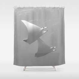 Rising with the mobula rays Shower Curtain