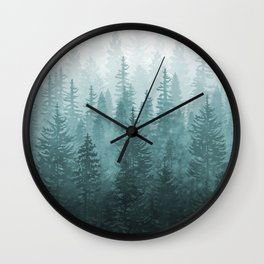 My Misty Secret Forest - turquoise green Wall Clock