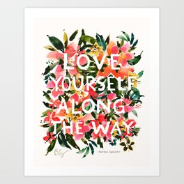 LOVE YOURSELF Floral Quote Art Print