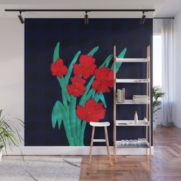 Red flowers gladiolus art nouveau style Wall Mural