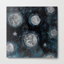 Moon Bubbles Metal Print