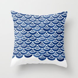 Blue and White Overlapping Fish Scale Watercolor Pattern Throw Pillow