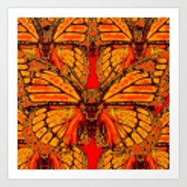 GOLDEN-RED MONARCH BUTTERFLIES ABSTRACT Art Print