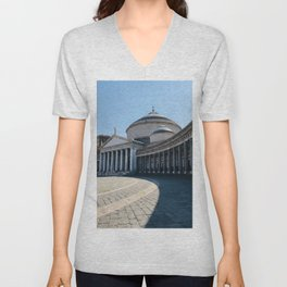 Napoli, Piazza del Plebiscito, Italy landmark, Naples photo, italian art, neoclassical architecture Unisex V-Neck