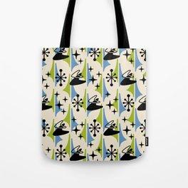Mid Century Modern Cosmic Boomerang 726 Black Blue and Green Tote Bag