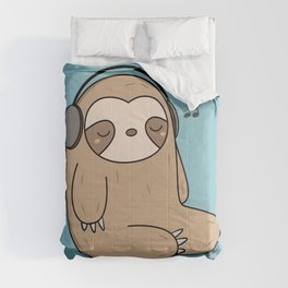 Kawaii Cute Sloth Listening To Music Comforters