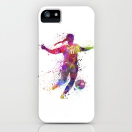 Girl playing soccer football player silhouette iPhone Case