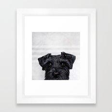 Black Schnauzer original painting print Framed Art Print