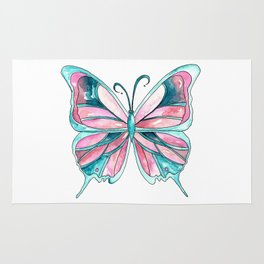 Pink and Blue Watercolor Butterfly Rug