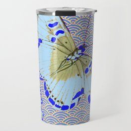 ORIENTAL STYLE BLUE-WHITE EXOTIC BUTTERFLY BLUE ART Travel Mug